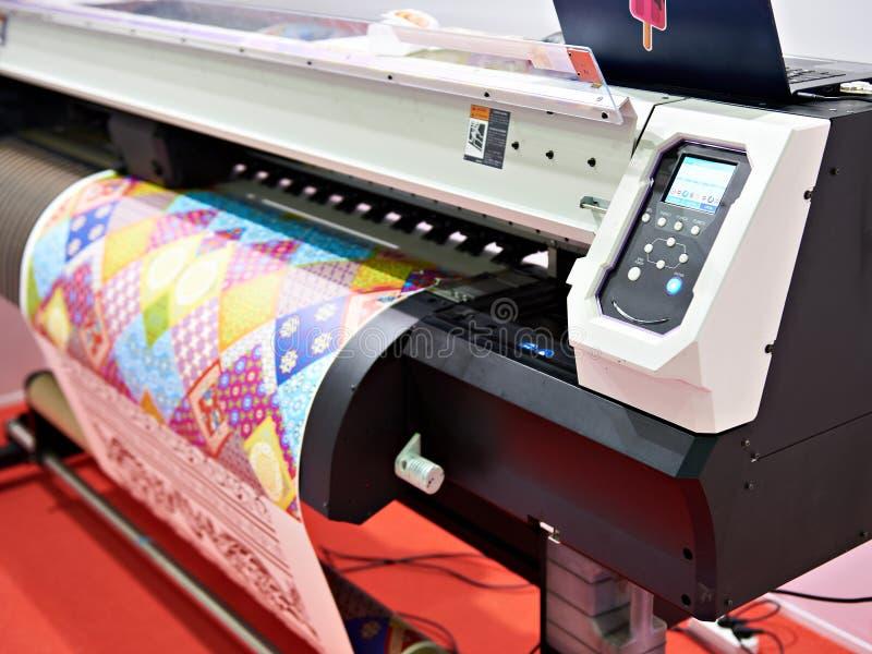 Big plotter printer with LED. Control panel stock image