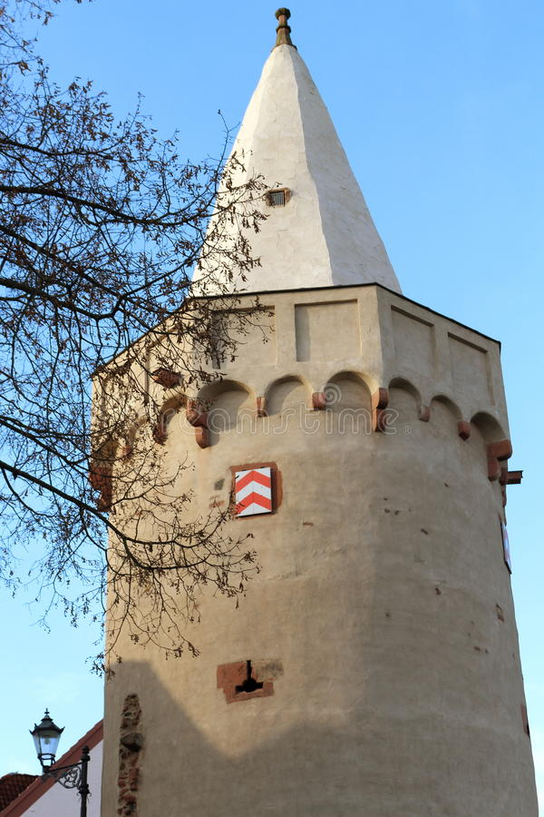 Big Powder tower in Seligenstadt in Germany royalty free stock images