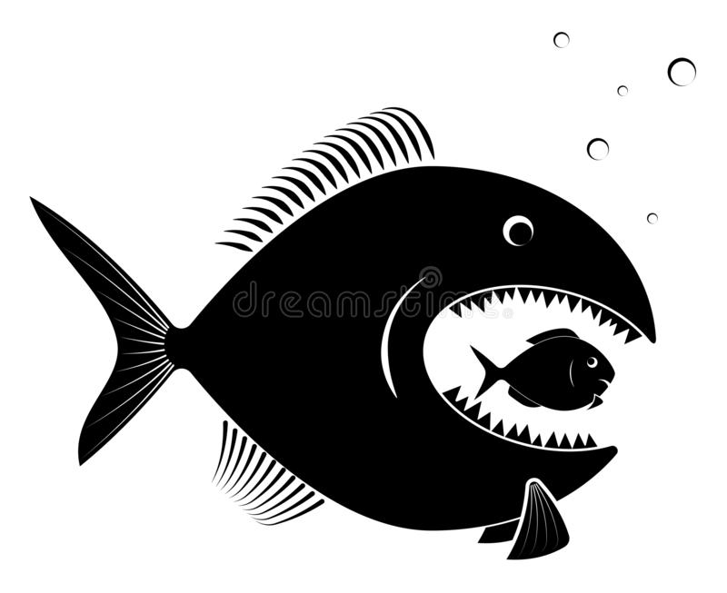 The big predatory fish eats the small defenseless. For an article on business takeover or competition. Black on white. vector illustration