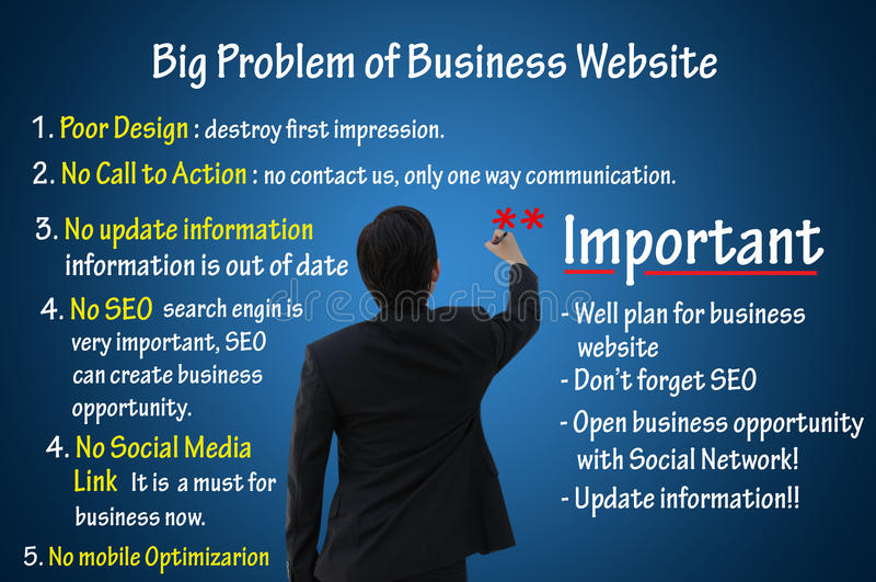 Big problem of business website, online marketing for business concept. Businessman writing big problem of business website