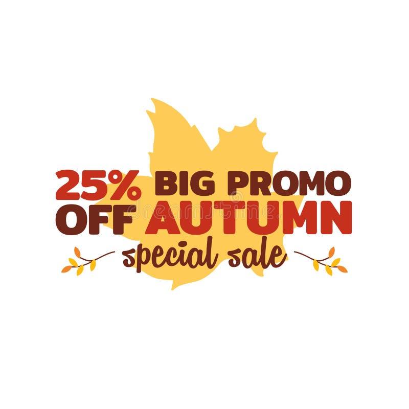 25% big promo autumn special sale typography badge with dry leaf background. element for online shop. Web, banner, poster, flyer design vector illustration