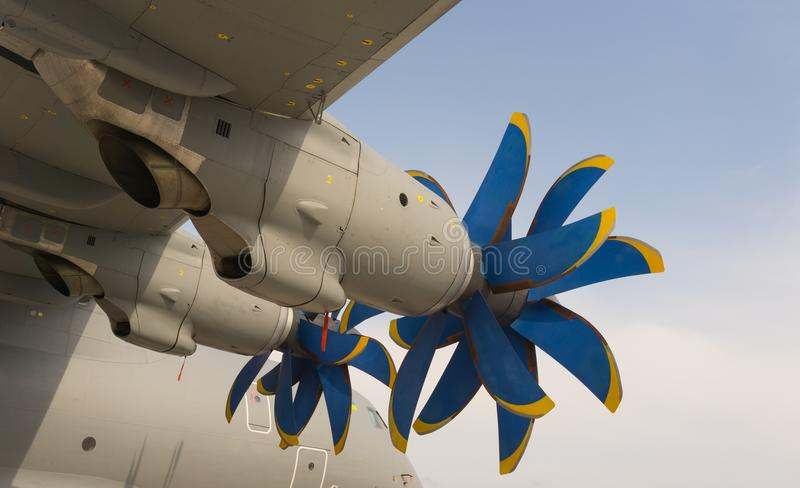Big propellers of cargo aircraft in euroasia air show. stock image