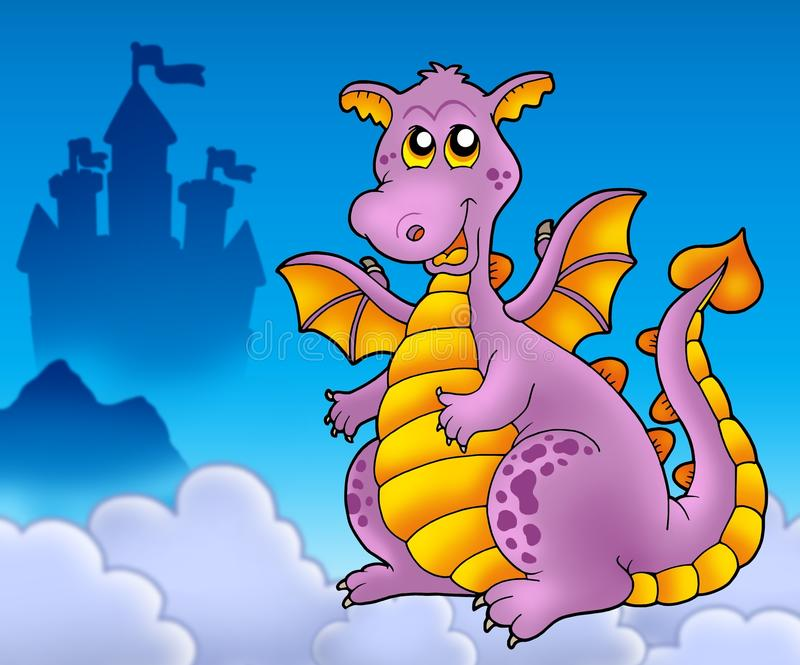 Big purple dragon with castle