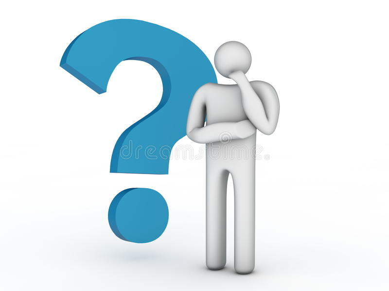 Download Big Question Mark And Thinking Person Stock Illustration - Illustration of idea, help: 34995798