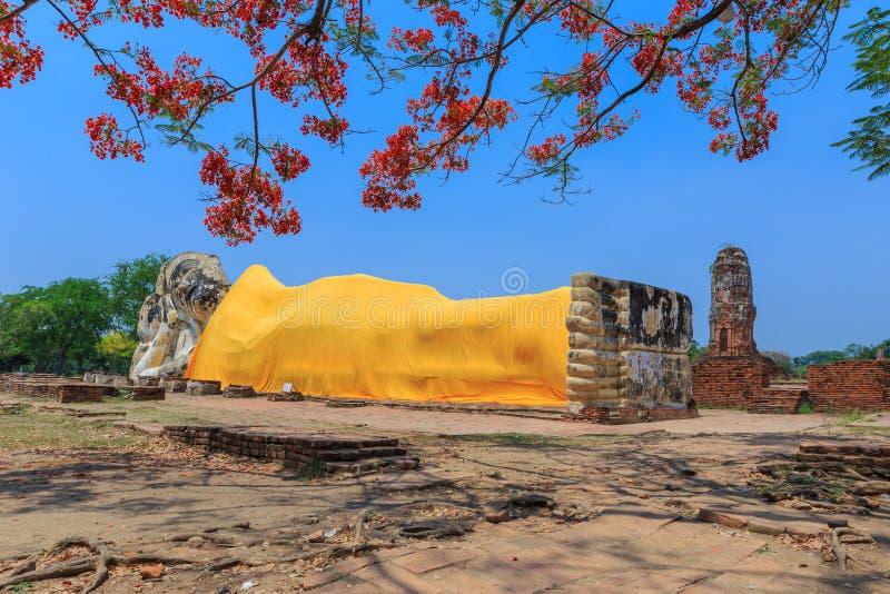 Big reclining buddha,in temple, at Ayutthaya, Thailand, royalty free stock images