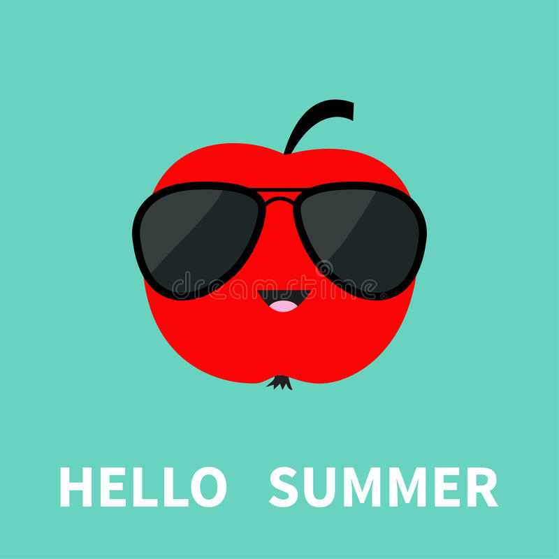 Download Big Red Apple Fruit Wearing Sunglasses. Cute Cartoon Smiling  Character. Hello Summer Greeting