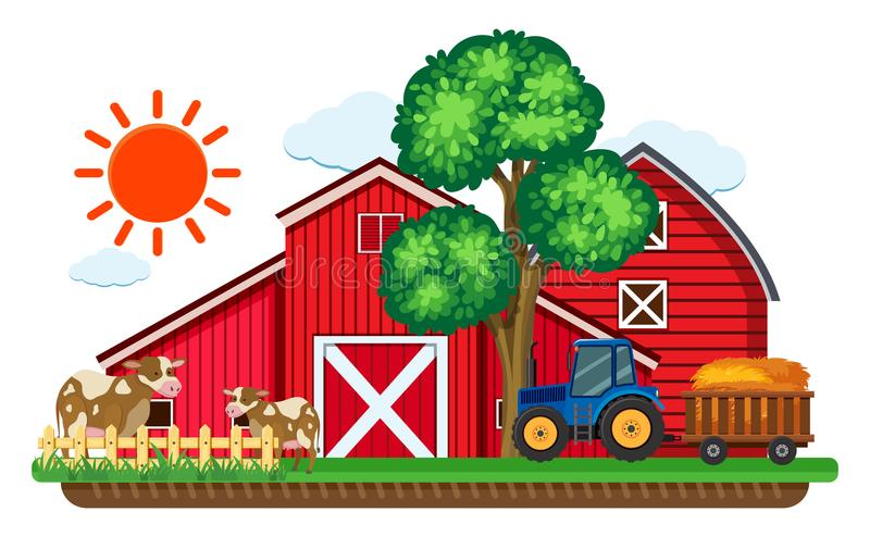 Download Big Red Barns And Two Cows In The Farm Stock Vector