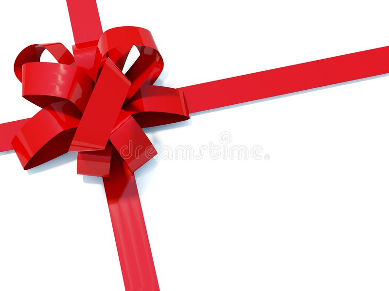 Big red bow. With ribbons isolated on white royalty free illustration