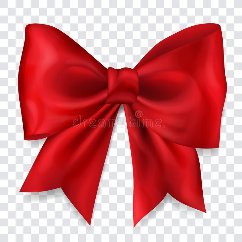 Big red bow. Beautiful big bow made of red ribbon with shadow on transparent background vector illustration