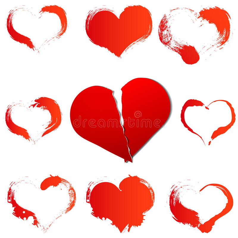 Big red broken heart on white isolated background and set of a grunge hearts royalty free illustration