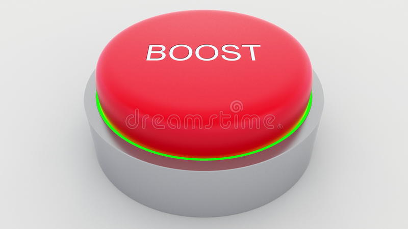 Big red button with boost inscription being pushed. Conceptual 3D rendering royalty free illustration