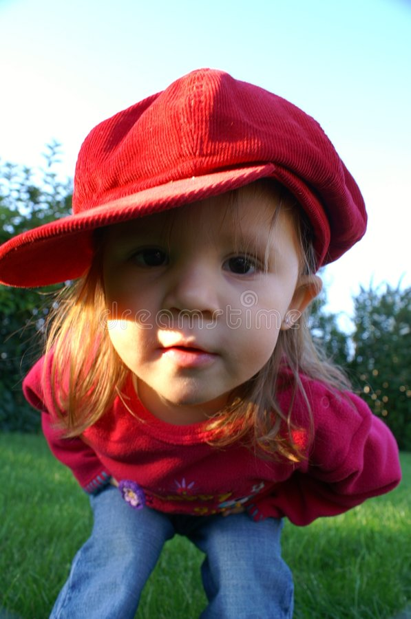 Big red cap stock photography