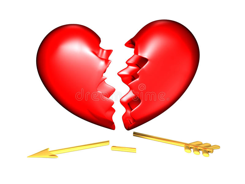 Big red and chubby broken heart. With a golden broken arrow stock illustration