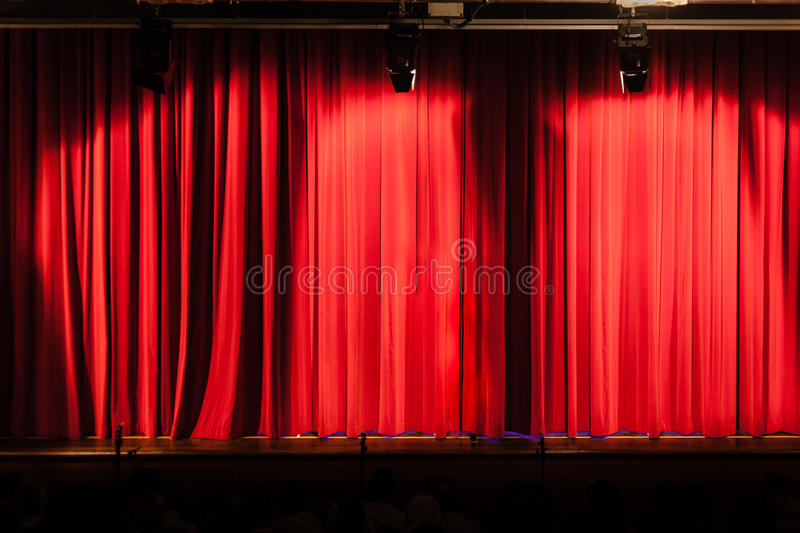 Big red curtain royalty free stock photos