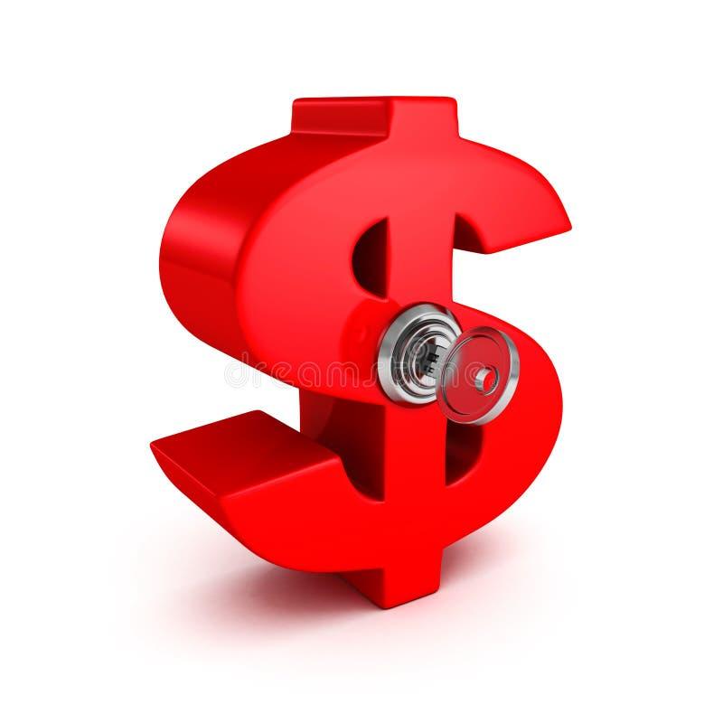 Big red dollar symbol with lock key. business success. Concept 3d render illustration stock illustration
