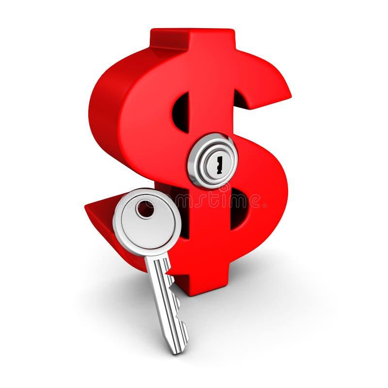 Big red dollar symbol with lock key. business success concept. 3d render illustration stock illustration