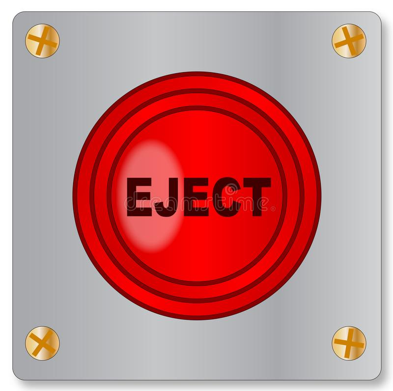 Eject Button On Metal Plate On A White Background. The big red emergency eject button on a white background vector illustration