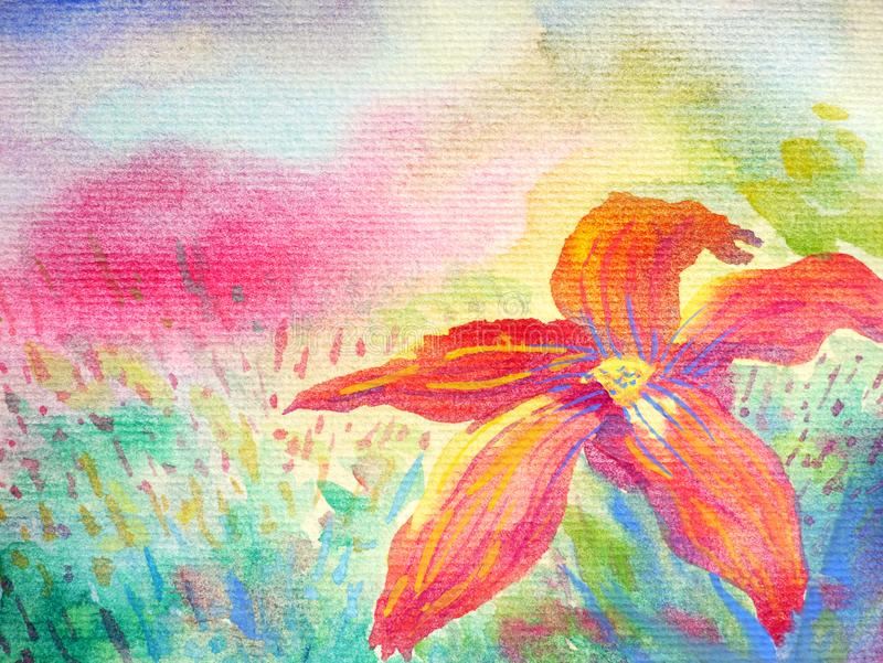 Big red flower in foreground and colorful field sky background. Watercolor painting royalty free illustration