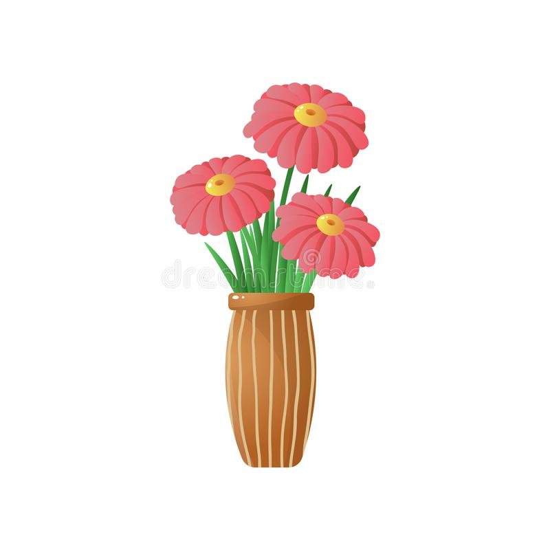 Big red flowers in stripped vase isolated on white background. Big red gerberas in stripped brown vase Floral card for easter, 8 march, valentines day, birthday vector illustration