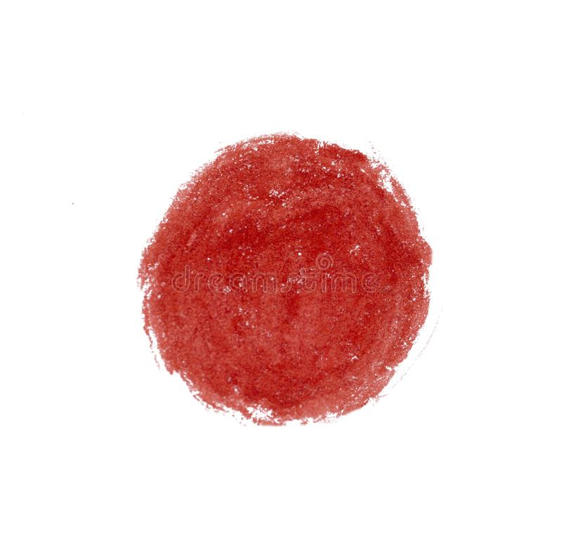 Big red grunge circle on old vintage background. Sealed with decorative stamps. Stylized symbol of Japan. illustration. Big red grunge circle on old vintage stock photos