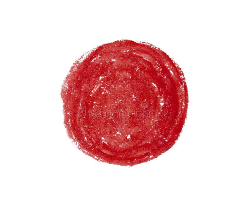 Big red grunge circle on old vintage background. Sealed with decorative stamps. Stylized symbol of Japan.  illustration. Big red grunge circle on old vintage stock image