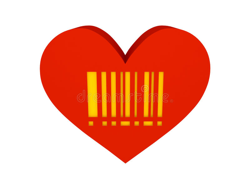 Download Big Red Heart With Barcode Symbol. Stock Illustration - Image: 32888256