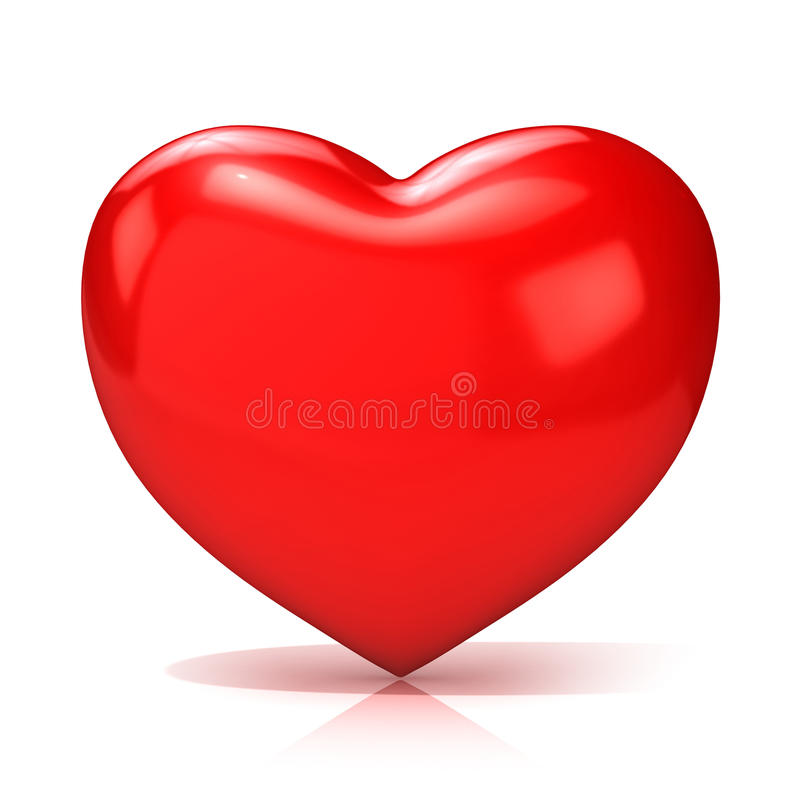 Big red heart. 3D render. Front view royalty free illustration