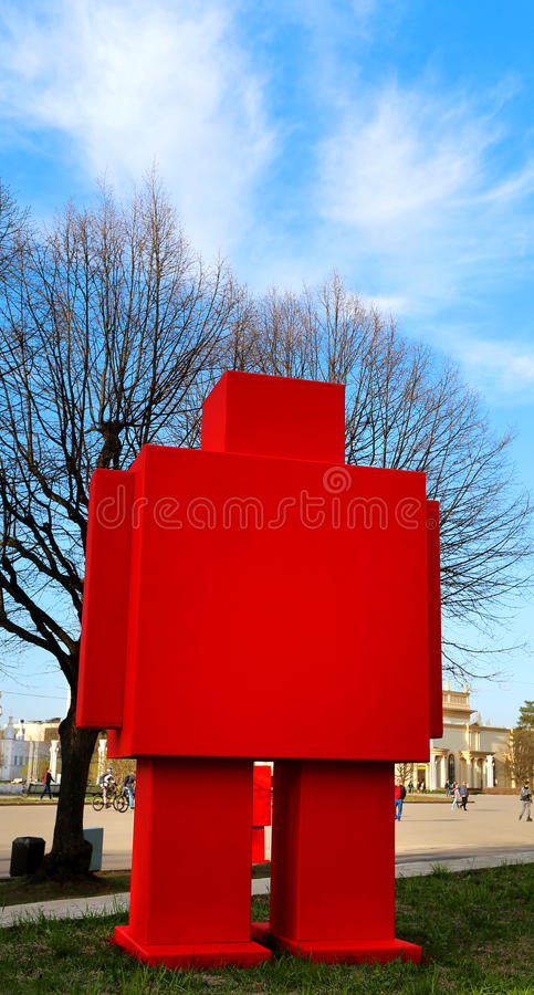 Big red robot. A beautiful statue of the big red robot royalty free stock photo