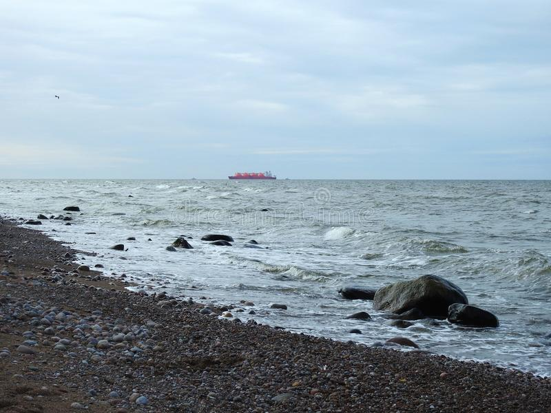 Big freighter ship in Baltic sea, Lithuania royalty free stock photos
