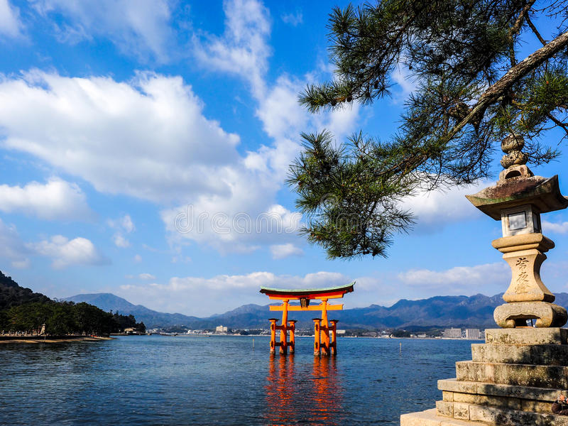 Big Red Torii gate in the Sea royalty free stock photo