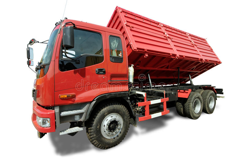 Big red truck tipper stock photos