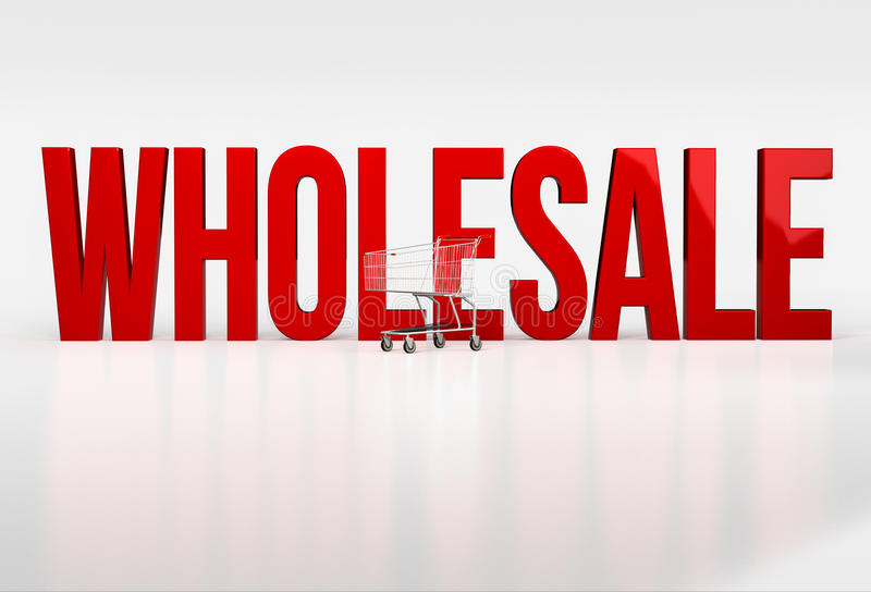 Big red word wholesale on white background next to shopping cart. 3d render royalty free illustration