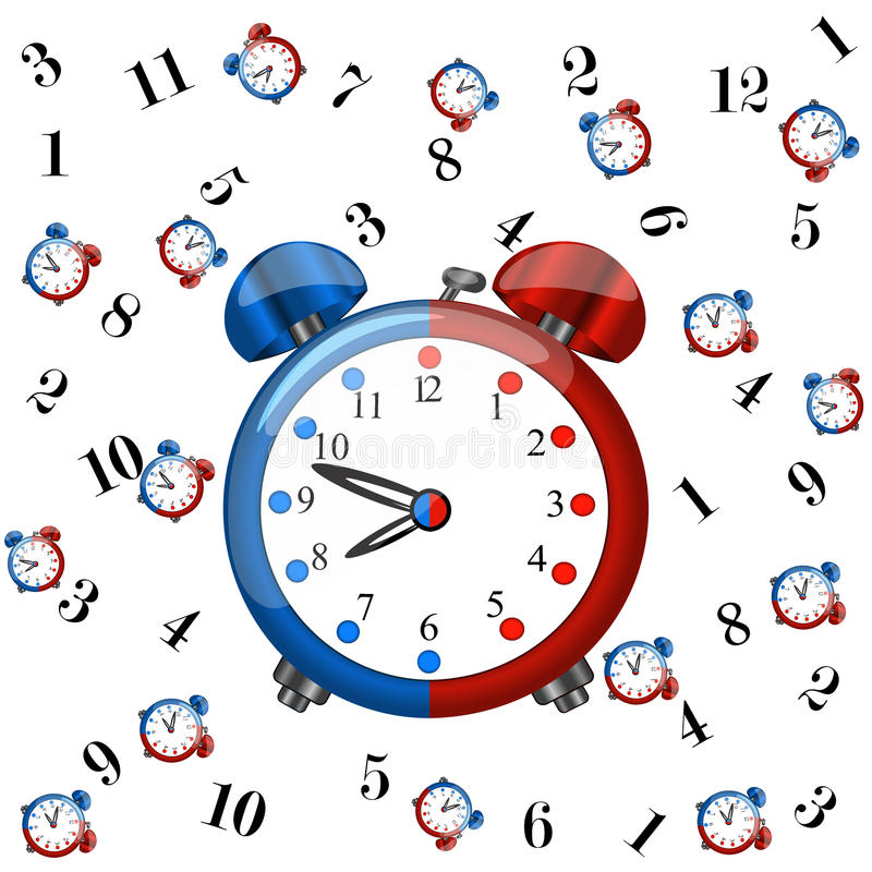 Big redblue alarm clock with pattern coloured clocks. Big redblue alarm clock with pattern coloured redblue alarm clocks and numbers on white background,cartoon royalty free illustration