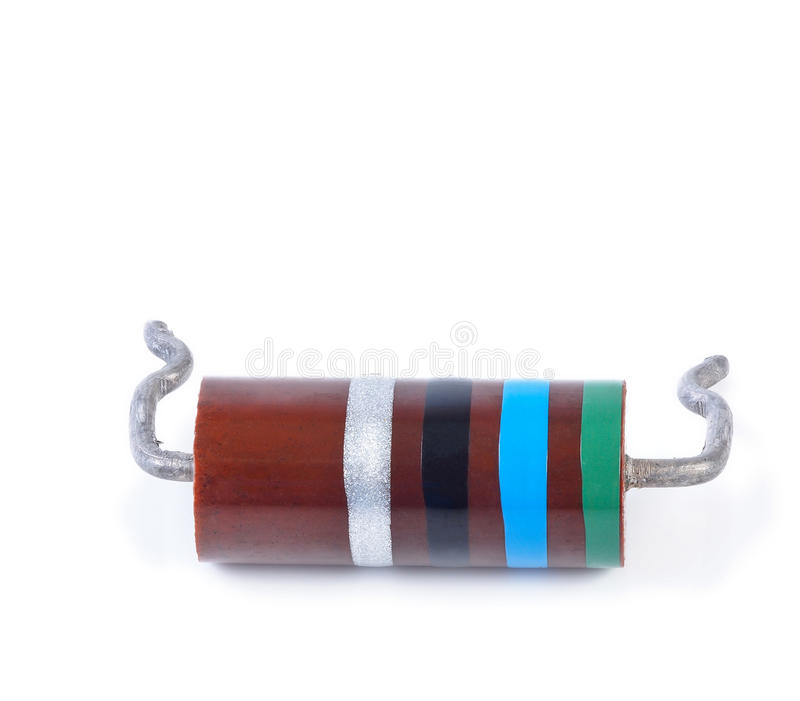 Big resistor with color code, isolated stock photos