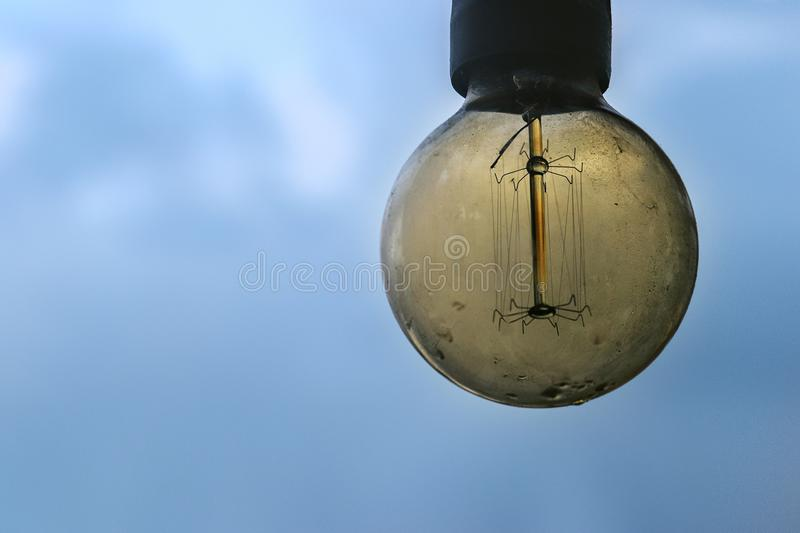 Big Retro Dirty Lamp with Drops of Water stock images