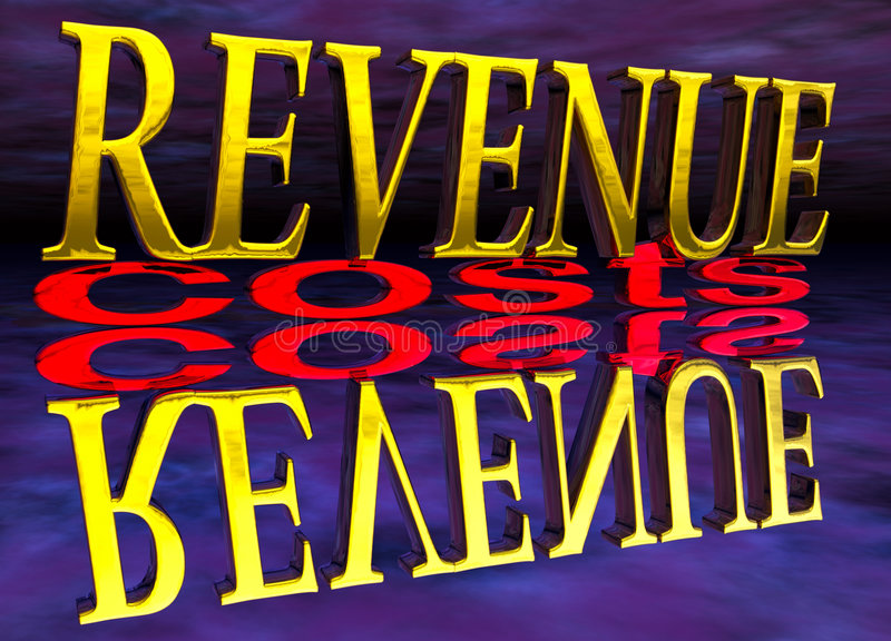 Big Revenue Small Costs Text with Reflection Night. Big Revenue Small Costs Text with Reflection at Night Purple vector illustration