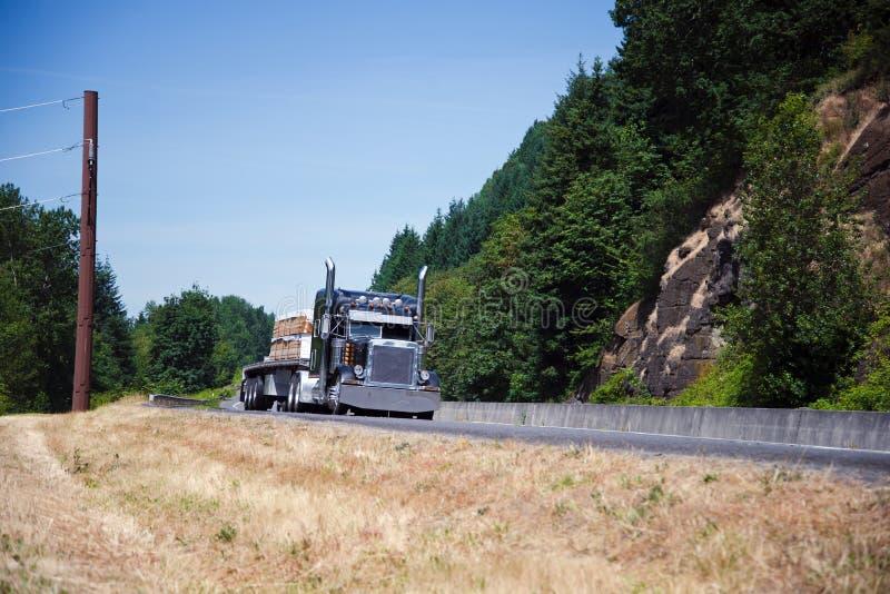 Big Rig Dark Blue Semi Truck Chrome Staff Carry Lumber