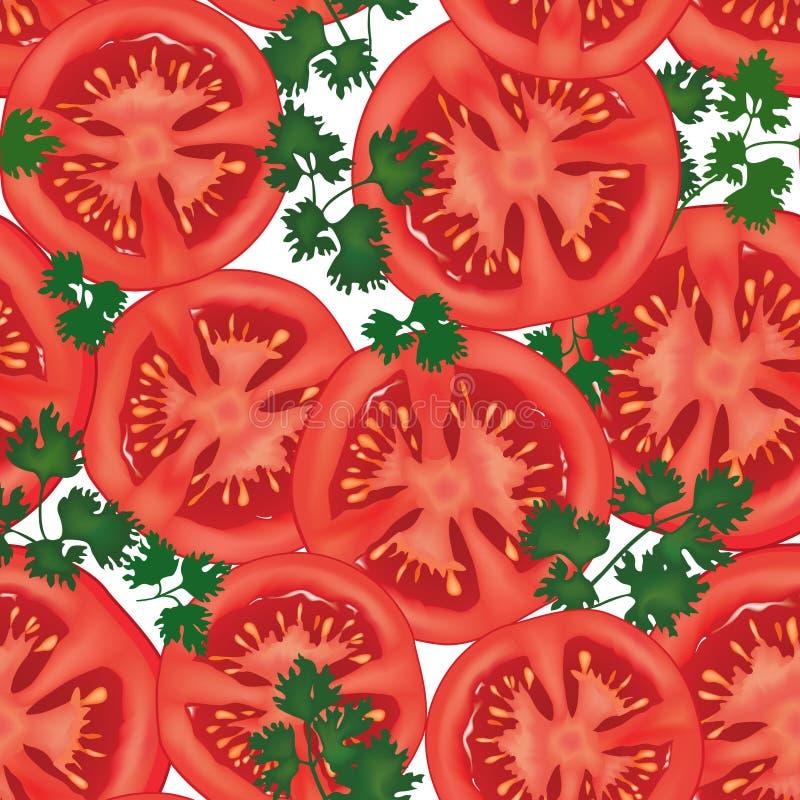 Big ripe red fresh tomato seamless background stock illustration