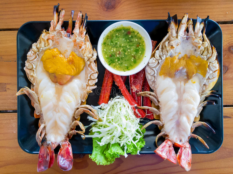 Big river shrimp Grilled with black dish royalty free stock photo
