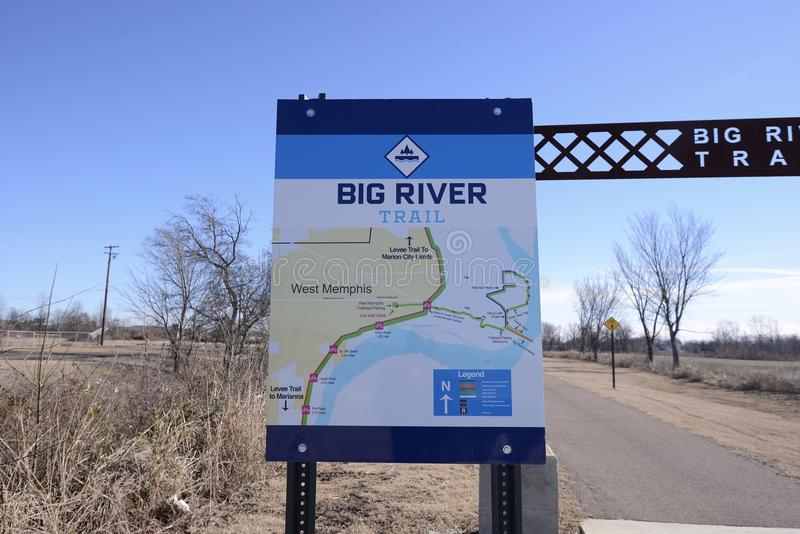 Big River Trail Diagram, West Memphis, Arkansas. The Big River Trail extends from Memphis, Tennessee to Marianna, Arkansas and all points between. Spectacular royalty free stock photography