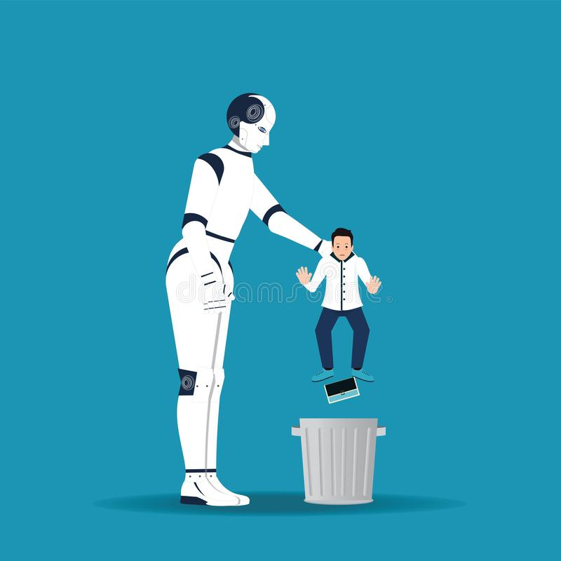 Big robotic hand holding little businessman in order to throw him into trash can vector illustration
