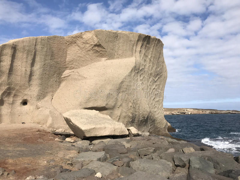 A big rock at the coast. Of San Miguel de Tajao in Tenerife royalty free stock images