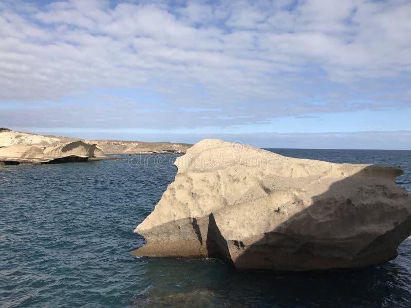 Big rock at the coast. Of San Miguel de Tajao in Tenerife stock photo