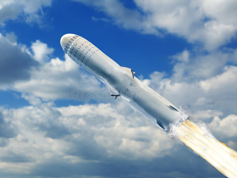 Big rocket flying over blue sky clouds royalty free stock photos
