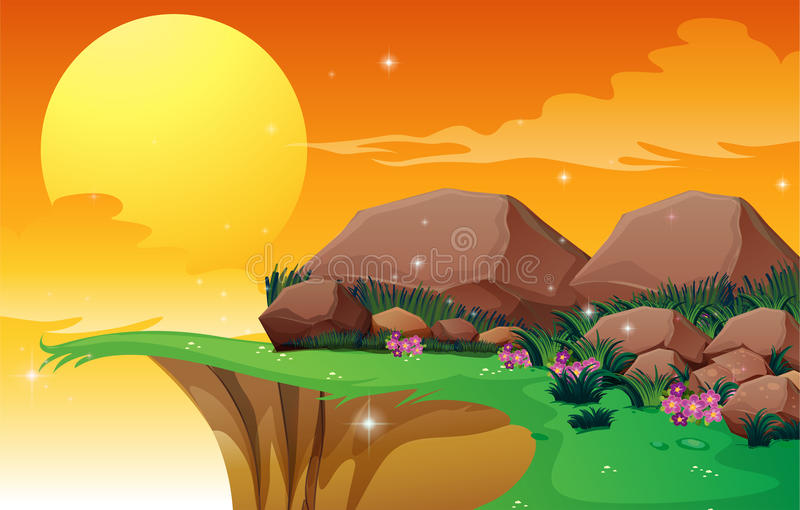 Big rocks near the cliff stock illustration