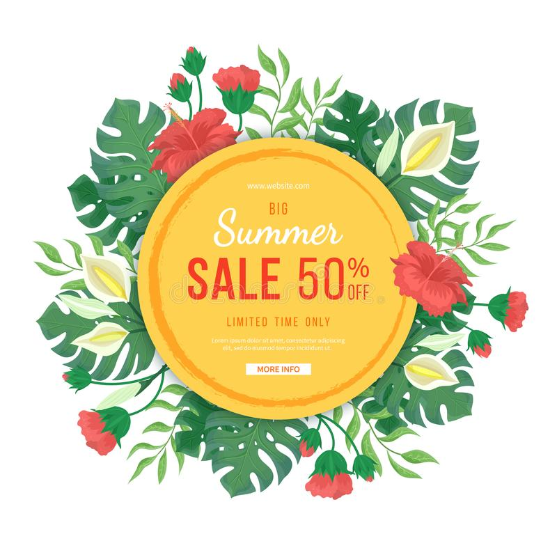 Big round summer sale banner. Flowers and buds of hibiscus, leaves and flowers of monstera, palms. Tropical exotic template poster. Design for print or web royalty free illustration
