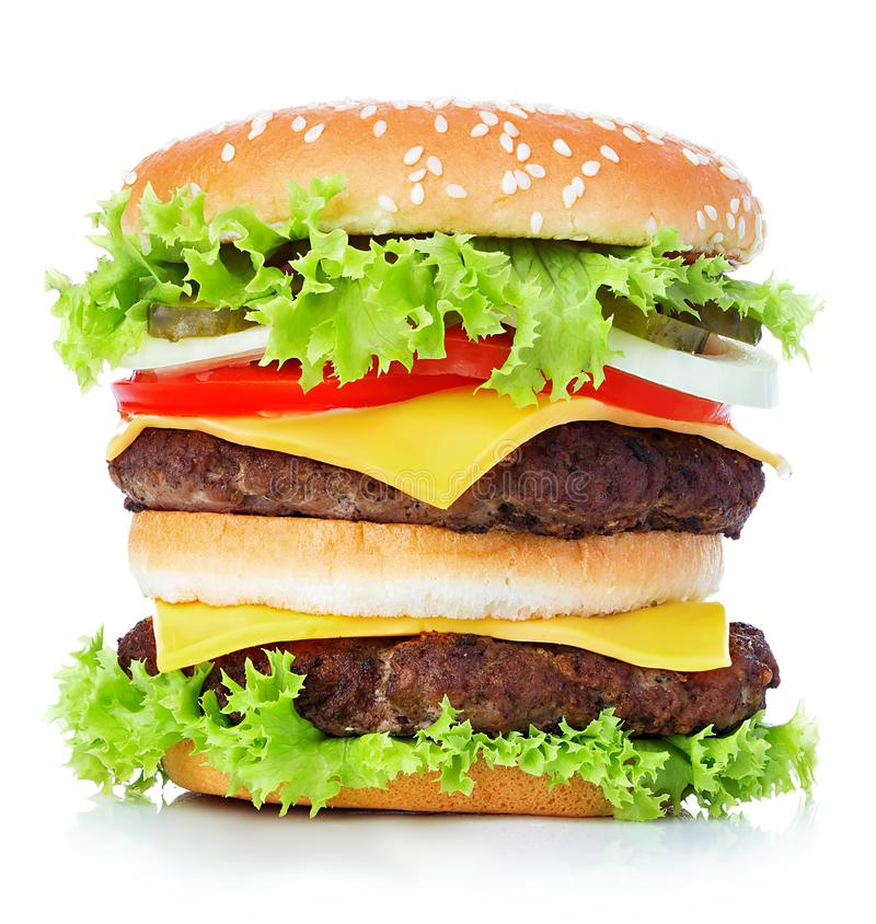 Big royal cheeseburger close-up isolated on white background royalty free stock photos