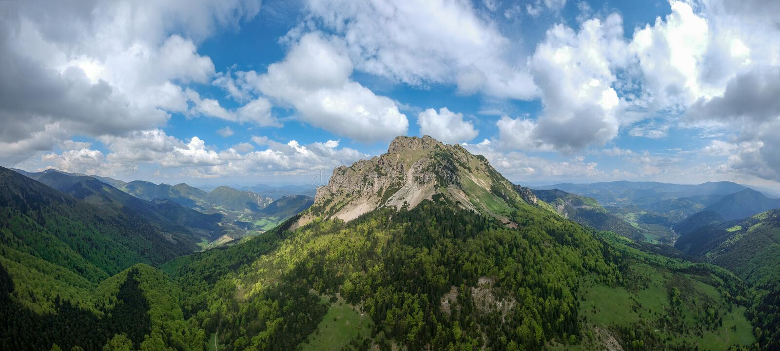 Big Rozsutec peak, Little Fatra, Slovak republic panorama aerial view. Hiking theme. royalty free stock photography