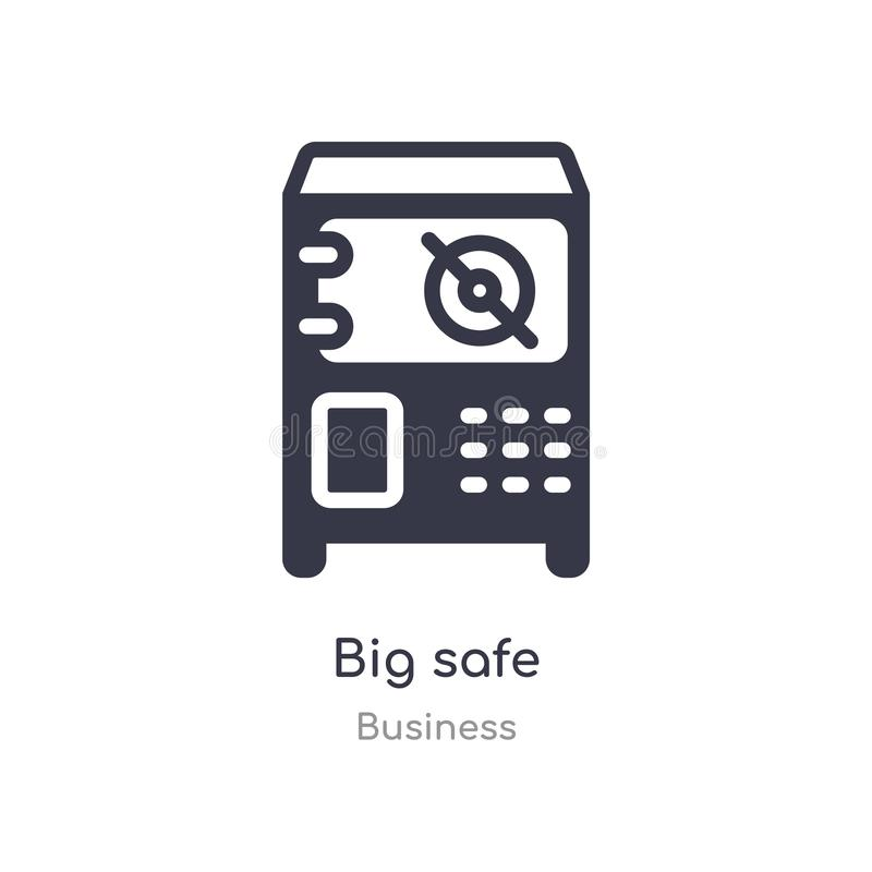 big safe outline icon. isolated line vector illustration from business collection. editable thin stroke big safe icon on white stock illustration