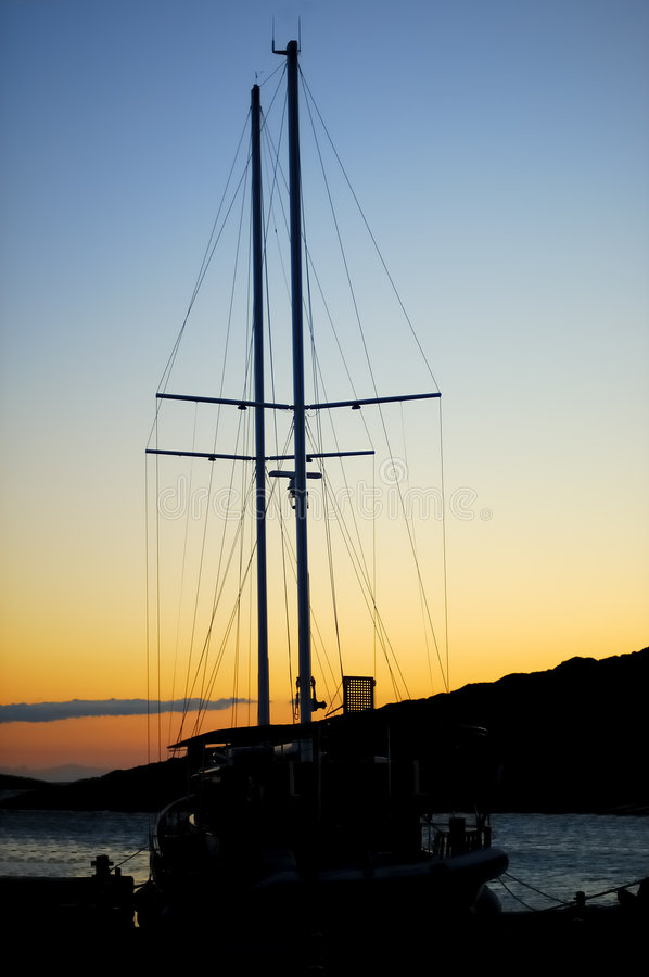 Download Big Sail Boat In Sunset Royalty Free Stock Photography - Image: 1402827